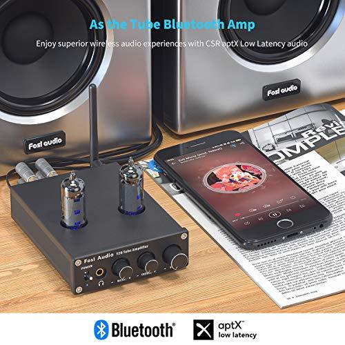 Fosi Audio T20 Bluetooth Valvole Amplificatore Mini Finale di Potenza a 2 Canali in Classe D Amp per Cuffie Compatto con Tubi a Vuoto 6J4 per Altoparlanti Passivi Domestici