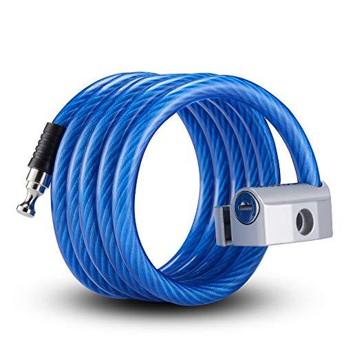 Sunbobo Bloqueo de Cadena de Bicicletas Cerraduras de Bicicletas de Seguridad con Cable para Bicicletas al Aire Libre con 2 Llaves para Motocicletas, Puerta. (Color : Blue, Size : One Size)
