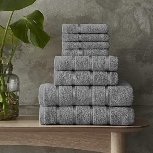 Juego de toallas de baño 100% algodón egipcio, 5 piezas, color gris, toallas de baño a rayas, toallas Xpress (plata, toalla de baño gigante)