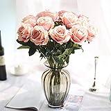 Moonuy Artificielle Faux Roses Flanelle La Mariée Fleur Bouquet De Mariée Fête De Mariage Décor À La Maison Fleurs Fake en Flanelle Wedding Party l'hôtel Table Balcon Décoration (G)