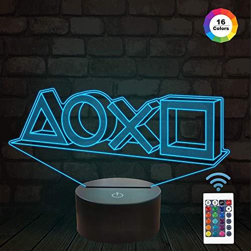 3D LED Illusion Nachtlicht, 16 Farben USB-Lade, die Schlafzimmer-Dekoration für Kinder Weihnachten Halloween-Geburtstagsgeschenk beleuchten (Fernbedienung)