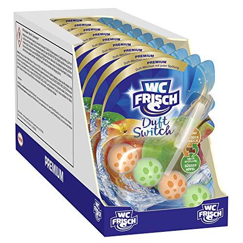 WC Frisch Duft Switch Saftiger Pfirsich und Süßer Apfel, WC-Reiniger & Duftspüler, Duftwechsel, 10er Pack(10 x 50 g)