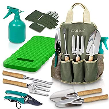 Scuddles - Garden Tools Set - 8 Piece Gardening Tools with Storage Organizer, Ergonomic Hand Digging Weeder, Rake, Shovel, Trowel, Sprayer, Gloves Gift for Man & Women (with Gardening Mat)