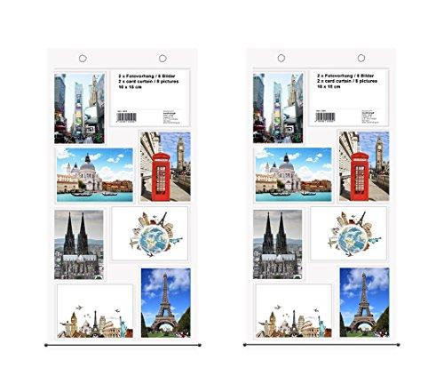 Trendfinding 2 x Fotovorhang Fotowand Fototaschen Fotohalter Taschenvorhang mit 8 Taschen Fotos Hochformat und Querformat 10 x 15
