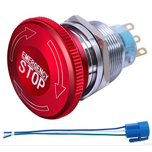 mxuteuk 22mm Edelstahl Metall verriegelung Not-Aus-Schalter 12-220V 3A 1NO 1NC mit Anschlussstecker,MXU-DT-CT