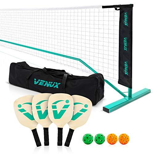 VENUX Portable Pickleball Net Set- Professional Pickleball Net System Complete Set with 4 Paddles + 4 Balls + Carrying Bag, Metal Frame Knotless Polyester Net, Official Regulation Size Net