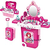 Khilona House Make Up Dressing Table Glamour & Beauty Set With Mirror, Stool, Hair Dryer, Lipstick, Necklace, & Accessories With Play Mp3 Music Best Girl Gifts.