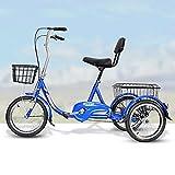 Triciclo de Adultos Triciclo Adulto Triciclos Adultos De 16 Pulgadas Trifer Bicicleta Bicicleta Con La Cesta De Compras Bicicleta De 3 Ruedas Para Picnico Trabajo De Compras Mujer(Color:azul)
