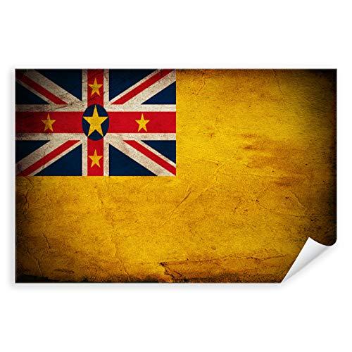 Postereck - 0395 - Vintage Flagge, Fahne Niue Alofi - Unterricht Klassenzimmer Schule Wandposter Fotoposter Bilder Wandbild Wandbilder - Leinwand - 100,0 cm x 75,0 cm