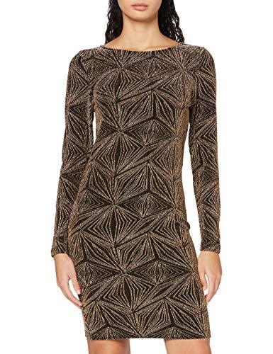 ONLY Damen Kleid, Detail:Gold METALLIC FIBERS/ONLSHINE L/S Glitter Boatneck Dress JRS, M