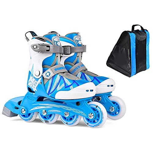CLEEBAOXP - Patines en línea para niños para niñas, ajustables, con ruedas para boys, exteriores, iluminación, patinaje para adultos – azul + No_Flash_L
