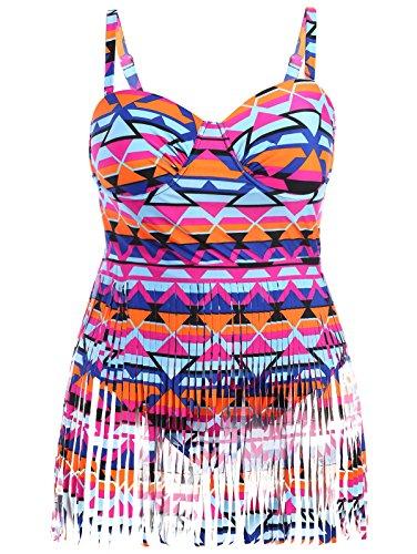 Creabygirls Womens Plus Size Print High Waist One Piece Tassel Swimsuits,Multicoloured (XXX-Large)