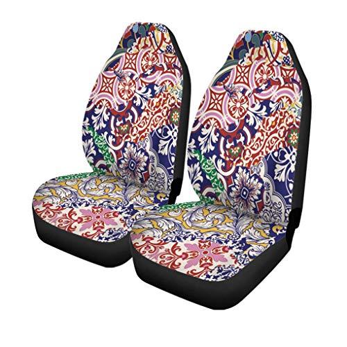 Auto Stoelhoezen ar-abesque Azulejos Tegels Patchwork Abstract Tapijt Keramische Vloer Bloemen Set van 2 Beschermers Auto Fit voor Auto