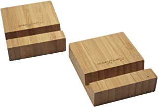 AuroTrends 2pack Desktop Cell Phone Stand for iPhone: Portable Bamboo Smartphone Holder- Simple Natural and Elegant- Universal Holder Stand Compatible with All Cell Phones and iPad Mini