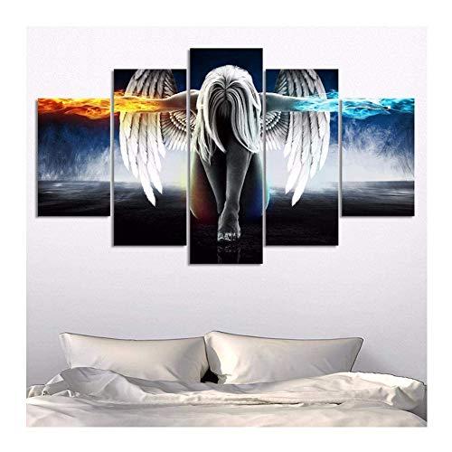 5 Stück Schutzengel Gemälde Leinwand Poster Bild Modular Wohnzimmer Dekoration HD Gemälde Wand Kunst Hintergrund, a, 20x35x2+20x45x2+20x55x1