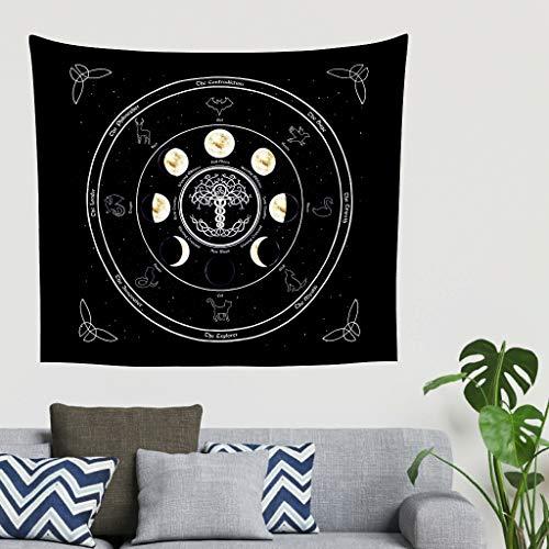 Mandala fantasie maanfase Keltisch boom des levens dier sterrenbeeld Astrologie kunstwerk wandbehang tapijt fantasie Gobelin wandkleed bankovertrek hoofdeinde achtergronddoek 40 * 59 wit