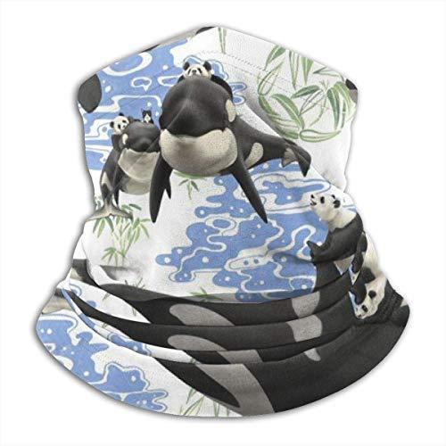 ShiHaiYunBai Tour de Cou Cagoule Microfibre Chapeaux Tube Masque Visage, Pandas Riding Whales Fleece Neck Warmer - Reversible Neck Gaiter Tube, Versatility Ear Warmer Headband & For Men And Women