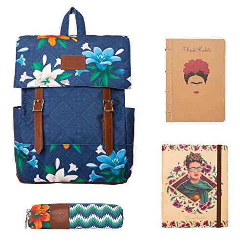 Grupo Erik-PACK0277 Set de papelería Frida Kahlo, Mochila, Estuche, Bullet Journal y Cuaderno de Notas Premium A5, Color (PACK0277)