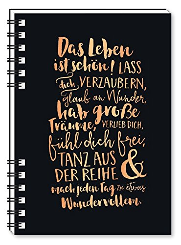 Grafik Werkstatt Notizbuch A6   Spiralbuch mit Punkte-Raster   Hardcover schwarz   Das Leben ist schön!