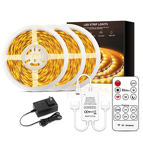 QFXFL LED Strip Light Warm White, 12V Soft Dimmable LED Lights Strip Flexible Undercabinet Tape Lighting, 32.8/65.6ft Bedroom String Light for Home Kitchen Under Cabinet Bedroom,10m 840lights