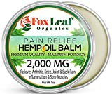 Foxleaf Natural Hemp Balm Pain Relief Cream - Extra Strength 2000MG Organic Hemp Seed Oil, Arnica & Turmeric for Arthritis, Workout Recovery, Sore Muscles, Joint & Back Pain - 1.7oz - Made in USA