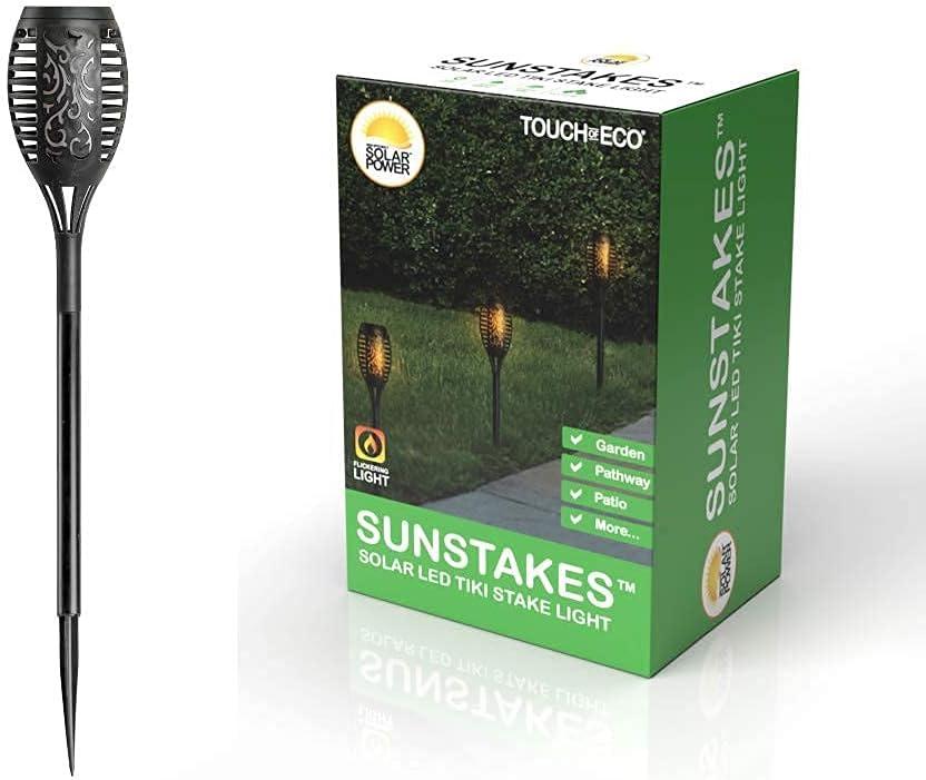 Solar LED Tiki Torch Popular popular 1.5' Tall Flames Max 77% OFF Lan Outdoor Flickering -