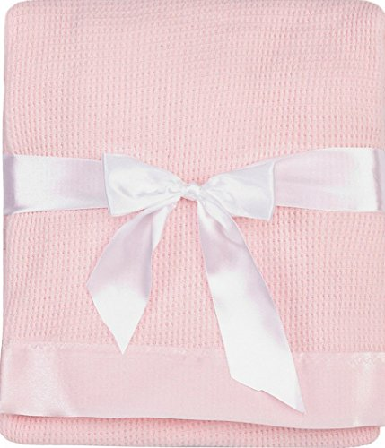 Thermal Waffle Weave Baby Blanket with Satin Nylon Trim (pink) (Names Starting With M For Baby Girl)