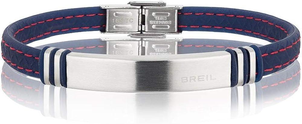 Breil, bracciale uomo savage, in acciaio inossidabile e silicone, blu e rosso