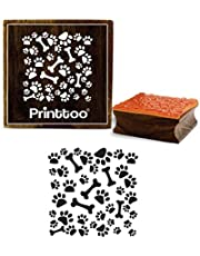 Printtoo Dog Paw Print & Bones Pattern Wooden Rubber Stamp Square Scrap-Booking