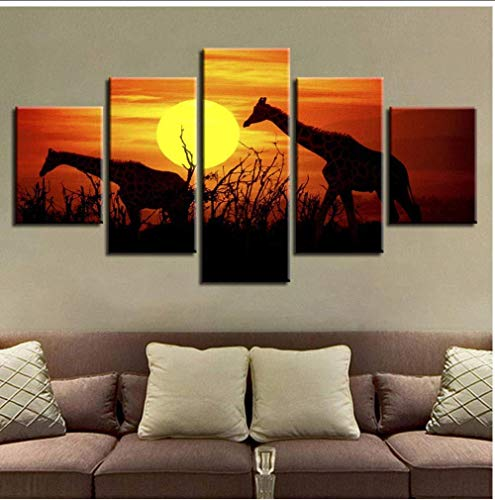 NIUYHFU Pintura Modular sobre Lienzo Arte de la Pared 5 Piezas Sunset Forest Jirafas Imágenes Living Room Decorprints Animal Poster