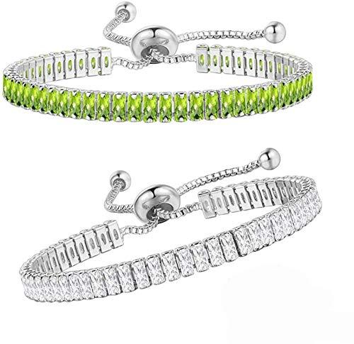 Pulsera de Tenis, Pulsera de ópalo Brillante de circonita cúbica chapada en Oro para Amantes de los Amigos (Color : White Olive Green)