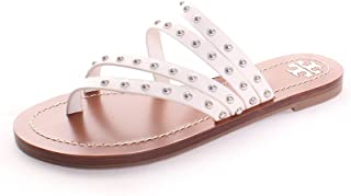 5944da394c37 Tory Burch Patos Leather Studded Sandal in Perfect Ivory