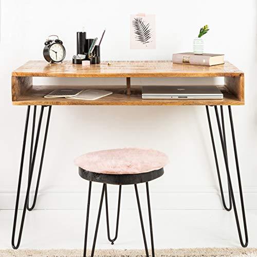 CAGÜ: Design Schreibtisch [MALITA] Natur aus Mangoholz mit 2 Ablagefächern und schwarzen Haarnadelbeinen aus Metall 100cm x 50cm