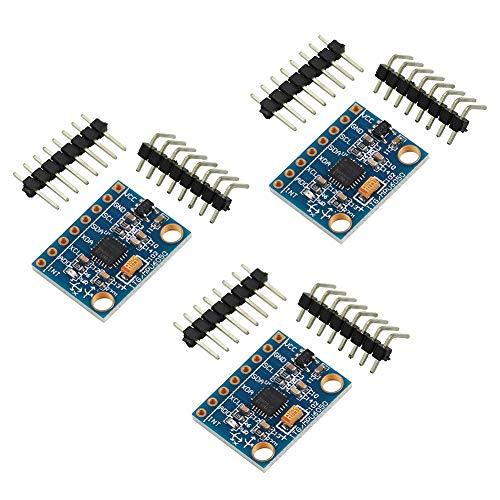 WayinTop 3 Piezas GY-521 MPU-6050 3 Ejes Giroscopio y 3 Ejes Acelerómetro Sensor Módulo 16 bits AD Convertidor de Datos Salida IIC I2C para Arduino