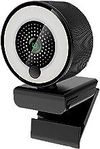 1080P HD Webcam com anel de luz autofoco integrado Webcam de microfone para vídeo/transmissão ao vivo/videoconferência est...