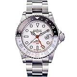 Ternos GMT - Reloj de pulsera para hombre (incluye correa de nailon), color blanco y negro