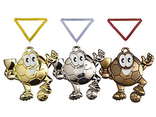 Henecka ⚽ Medaille Jungs • Mädchen • Fun • Kinder Fußball, Medaillen mit Wunschgravur, inklusive Halsband, wählbar in Gold, Silber, Bronze, oder als 3er-Serie (Gold)