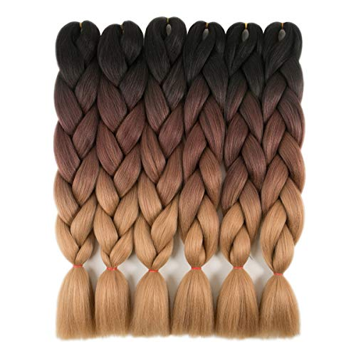 RAYIIS 6 Packs Ombre Braiding Hair Kanekalon Synthetic Braiding Hair Extensions 24 inch Black-Dark brown-Light brown