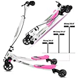 Scooter for Kids Age 3-10, Swing Scooter 3 Wheel Foldable Slider Toddler Scooter, 3-Level Adjustable Height Wiggle Scooter Self Drifting Push Scooter for Age 3 Years Old and Up (US Stock)
