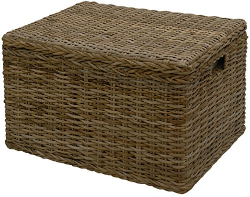 Spielzeugtruhe/Wäschetruhe mit Griffen Allzweck-Korb Truhe Aufbewahrung Box aus echtem Rattan 60x45 (Grau Natur)
