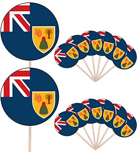 Turken en Caicoseilanden Vlag Feest Voedsel Cake Cupcakes Picks Sticks Vlaggen Opstaan Decoraties Toppers (Pack van 14)