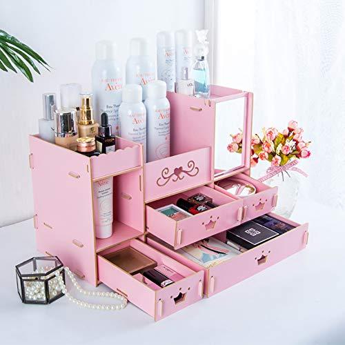 Cosmetica opbergdoos spiegel lade make-up organizer voor commode slaapkamer of badkamer make-up Roze