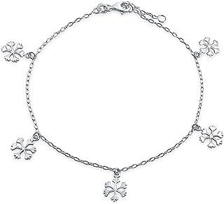 Penzolare Incanto Invernale Cavigliere Snowflake Per Teen Di Collegamento A Catena Per Donne Argento 925 9-10 Pollici