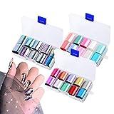 3 cajas Pegatinas de uñas,Nail Art Foil, 30 colores Holográfico Nail Stickers Foil Transfer Sticker para manicura Bricolaje Decoración (Estilo 3)