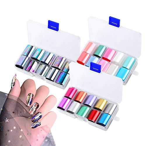 30 Colori Nail Foil Transfer Stickers, Gel Foil Unghie Trasferimento Adesivo Decalcomanie Holographic Nail Stickers Decorazione Fai da Arte Unghie (Stile 3)