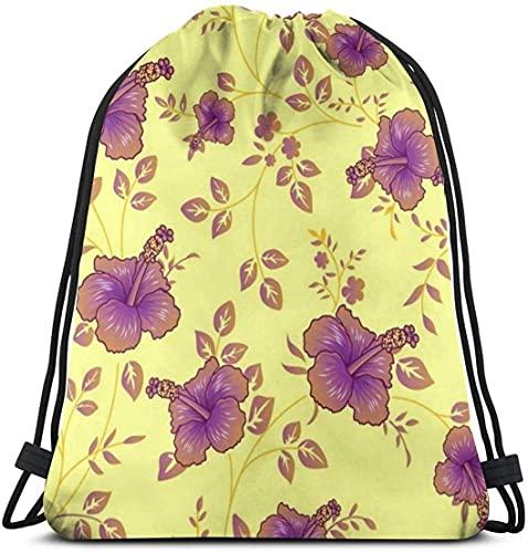 Ahdyr Bolsa de gimnasio con fondo de flores polinesias, mochila con cordón de viaje, bolsa deportiva para hombres y mujeres, bolsa de almacenamiento portátil