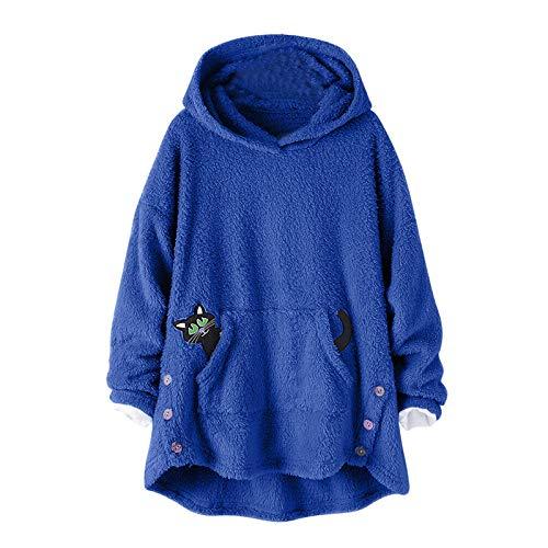 Kobay Kapuzenpullover Damen Herbst Winter Niedlich Hoodie Sweatshirt Pullover Känguru-Tasche Sweatshirt Langarm Winterjacke Mantel Top