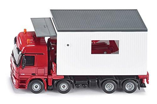SIKU 3544, Garagentransporter, 1:50, Metall/Kunststoff, Rot/Weiß, Detailgetreue Absetzvorrichtung