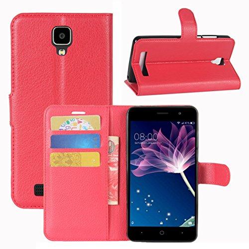HualuBro Doogee X10 Hülle, [All Aro& Schutz] Premium PU Leder Leather Wallet HandyHülle Tasche Schutzhülle Flip Hülle Cover für Doogee X10 Smartphone (Rot)