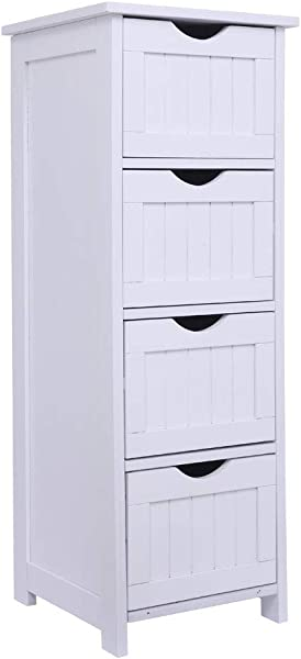 Bonnlo Bathroom Organizer And Storage Wooden Side Bathroom Cabinet With 4 Drawers Free Standing Cabinet White For Bathroom Bedroom Living Room Hallway 11 13 16 X11 13 16 X32 3 8